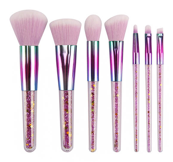 MB002 7 pcs crystal handle makeup brush set 4