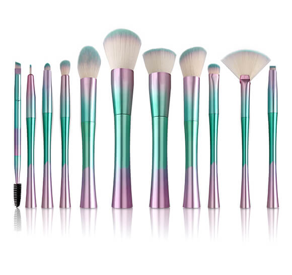 MB003 11 pcs rainbow color makeup brush set 3