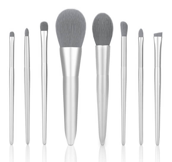 MB005 8 pcs silver makeup brush set 7