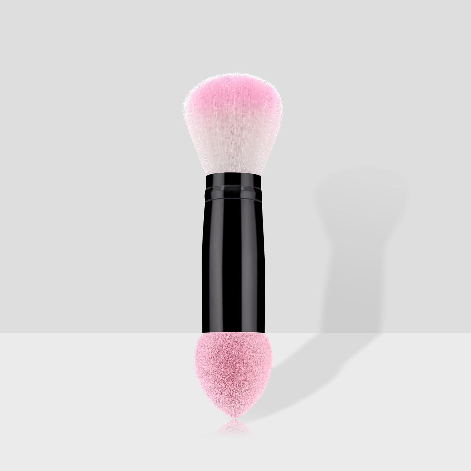 Double end brush makeup sponge and powder